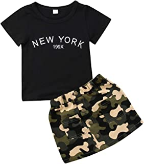 2Pcs Toddler Baby Girls Camouflage Skirt Outfit Black Tops T-Shirt Skirt Dress Summer Clothes Set