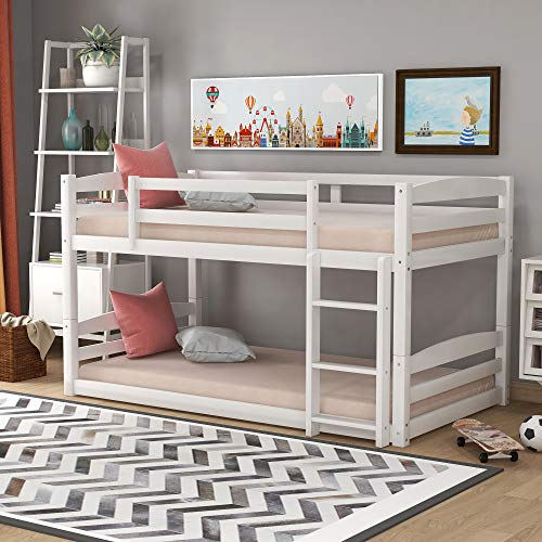 Merax Solid Wood Twin Bunk Bed with Ladder for Kids and Teens, Separable, No Box Spring Needed, Twin/Twin, White
