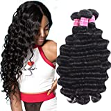 UNice Hair 10A Brazilian Loose Deep Wave Hair 3 Bundles, 100% Unprocessed Human Virgin Hair Weave Extensions Natural Color (20 22 24)