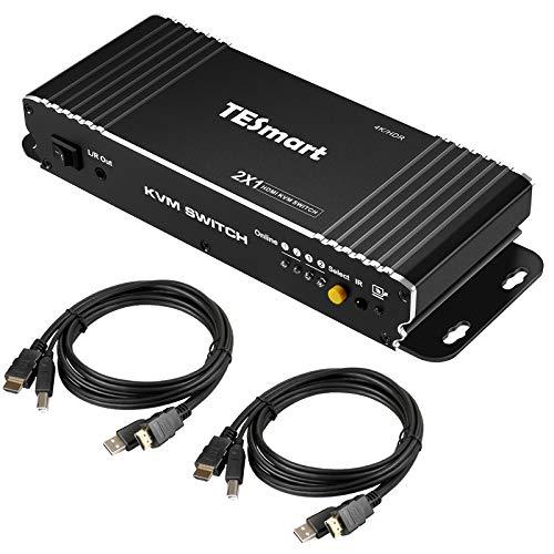 TESmart Multiplexor KVM de 2 Puertos HDMI 2.0, multiplexor KVM UltraHD 4K@60Hz YUV444 18Gbps, Salida de Audio, HDR10, Dolby Vision, Dolby/DTS, HDCP2.2, 2 Ordenador a 1 Monitor/TV (Negro)