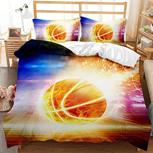 QWAS Slam Dunk 3D - Juego de funda nórdica y funda de almohada (3 piezas, para cama individual y matrimonial, 1200 x 200 cm + 80 x 80 cm)