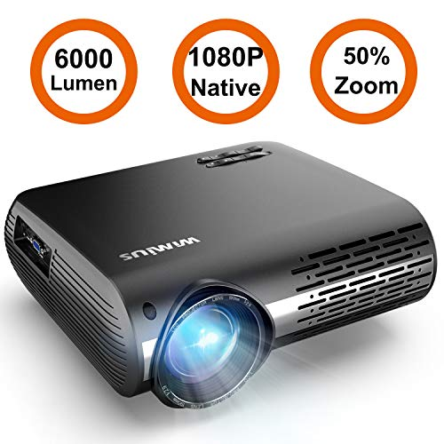 Projector, WiMiUS P20 Native 1080P LED Projector 6000 Lumen Video Projector Support 4K Video Zoom...