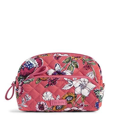 Vera Bradley Women's Signature Cotton Mini Cosmetic Makeup Bag, Coral Floral, One Size