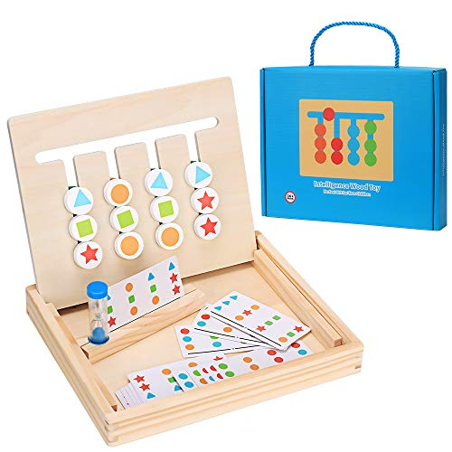 Jouets en Bois 4 Couleurs,Jeux Montessori Puzzle Enfant,Puzzle de tri Logique,Jouets de...