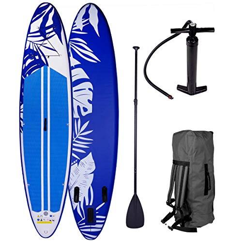 SUP Board Stand up Paddle Fusion Blau 320x76x15cm aufblasbar Double Layer MFL Alu-Paddel Hochdruck-Pumpe Rucksack Kick-Pad 140KG Paddling