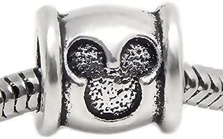 J&M Mouse Head Barrel Charm Bead for Bracelets