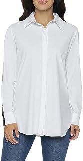 قمصان Lysse نسائية مخططة على الكتف بأزرار سفلية (أبيض، XS)