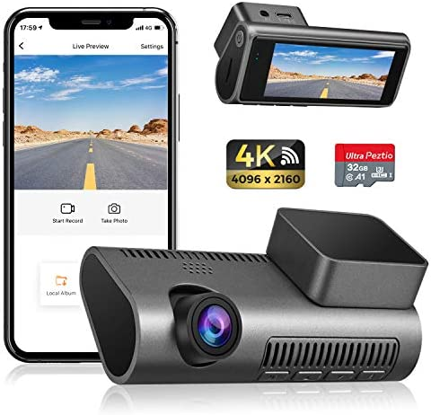 Dash Cam 4K WiFi Ultra HD 2160P Car Dash Cam with SD Card Included Dash Camera for Cars with product image