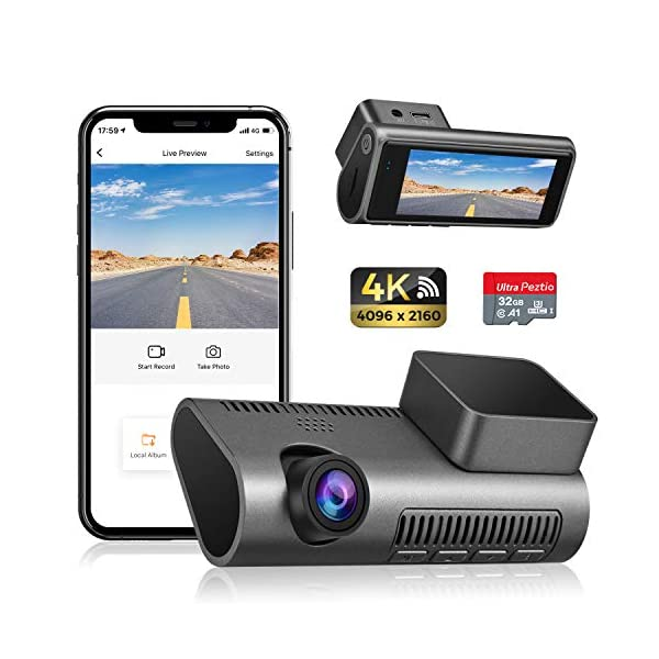 Dash Cam 4K WiFi Ultra HD 2160P Car Dash Cam with SD Card Included, Dash Camera for...