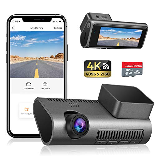 Dash Cam 4K WiFi Ultra HD 2160P Car Dash Cam with SD Card Included, Dash Camera for Cars with Night Vision, WDR, Loop Recording, 170° Wide Angle, G-Sensor, Motion Detection, 24H Parking Monitor