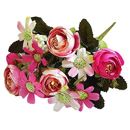 Ramo de Flores Artificiales de Color Fucsia, 1 Ramo de Flores Artificiales de Camelia y crisantemo para jardín, Fiesta de Bricolaje, decoración para el hogar, Boda, Color Azul