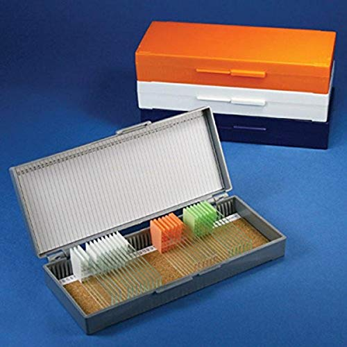 Globe Scientific 513077N ABS Plastic Cork Lined Slide Storage Box for 50 Slides, Orange