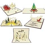 クリスマスカード3Dポップアップグリーティングカードクリスマス新年-5枚のカードと封筒