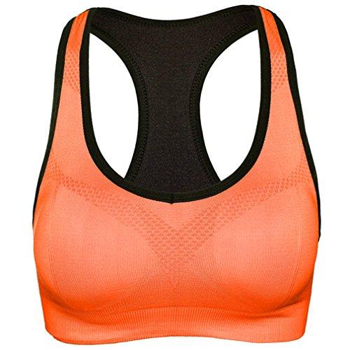 hikong Damen Sport BH Bra Bügelloser Starker Halt Push up Ohne Bügel Bustier Stretch Top Für Yoga Fitness-Training Sports 5 Farben, L/ EU36 (75B/75C/75D/80A/80B), Orange