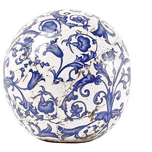 linoows Rosenkugel, Landhaus Gartenkugel Barockmuster, Keramik Kugel, 12 cm