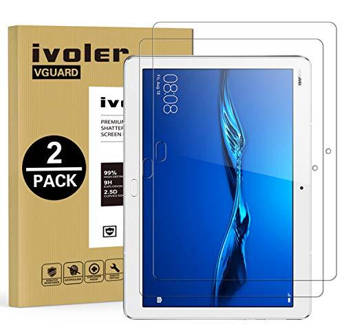 ivoler [2 Stücke] Panzerglas Schutzfolie für Huawei MediaPad M3 Lite 10, 9H Härte, Anti- Kratzer, Bläschenfrei, 2.5D Runde Kante