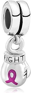 Cuenta para pulsera con lazo rosa para la sensibilización sobre la lucha contra el cáncer de mama, forma de guante de boxeo, estilo europeo, de la marca MYD Jewellery