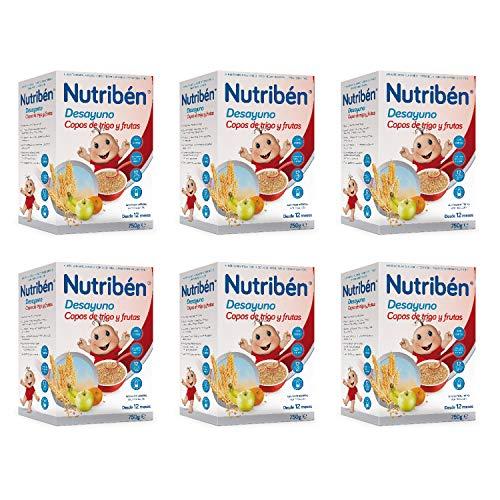 Nutribén Papilla de Copos de Trigoy Frutas para el Desayuno, Sin aceite de Palma - Alimento Para bebés- Desde Los 12 Meses- Pack De 6 unidades x 750 g
