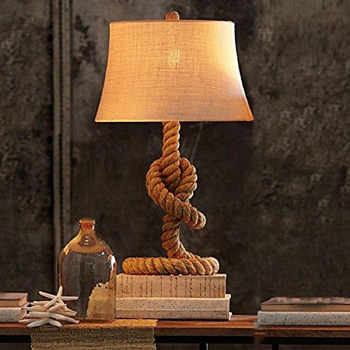 AMZH Retro cáñamo Cuerda lámpara de Mesa de Viento Industrial Creativa de Lino de Escritorio Hecho a Mano lámpara de Dormitorio Sala de Estar lámpara de Noche E27 110V 220V