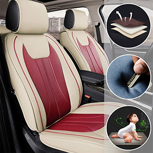Muchkey Fundas Asiento Coche de Piel para Volkswagen Polo Amarok UP! Todas Las Estaciones 5 Asientos