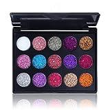 OMMO LEBEINDR 1set Glitter Lidschatten-Palette 15 Schatten Glänzende Und Pigmentierte Lidschatten...