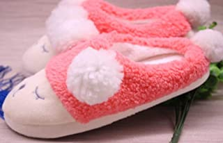 Autumn and Winter Cartoon Sheep Cotton Slippers Women's Home Warm Non-Slip Indoor Month Shoes,E,38/39