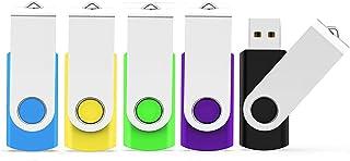 5 Pack 4GB USB Flash Drive USB 2.0 Thumb Drive Memory Stick JumpDrive Pen Drive Zip Drive (5 Colors: Black,Blue,Green,Purp...