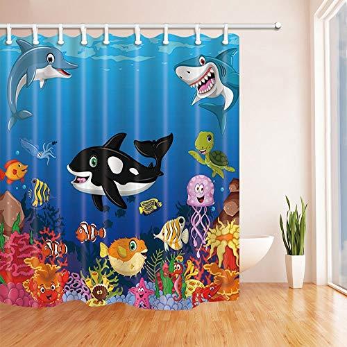 SRJ2018 Kids Love Sea Animals Ducha Cortinas Ballena Dibujos Animados con Sea Life Natación en Coral Tela Baño 180X180 CM