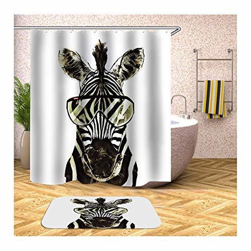 Bishilin 165x180 3D Duschvorhang Anti-Schimmel Zebra, Badematten rutschfest Waschbar 40x60 Badezimmerteppich Set 2 Teilig