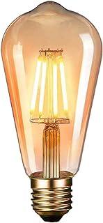 Massway - Bombilla LED Edison vintage, E27 (4 W / 220 V), 2600 – 2700 K, luz blanca cálida, retro, lámpara de estilo vintage, para casa, cafetería, bar, etc. 1 unidad