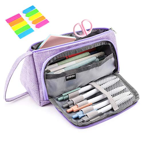 Pencil Case, Yloves Big Capacity Pen Pencil Bag Pouch Box Organizer Holder with 2 PCS Index Tabs for School Office (Purple)