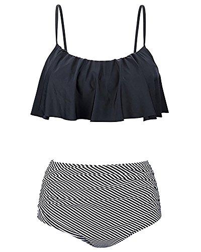 Avondii Damen Retro Badeanzug High Waist Volant Bikini Set (M, A-Schwarz)