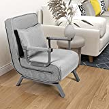 Convertible Sofa Bed Folding Arm Chair Sleeper, 5 Position Recliner Full Padded Lounger Couch Bed Removalbe Cover Home Office Furniture with Pillow (Large Size- Grey)