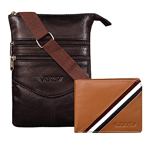 ABYS Cartera de cuero genuino y bolso de la honda Combo- 1 bolso de la honda y 1 cartera (1049IB+8531TNBL)