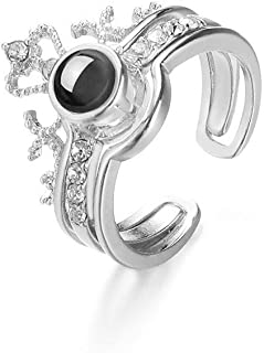 I Love You 100 Languages Light Projection Ring Two In One Couple Zircon Crown Silver Color Ring
