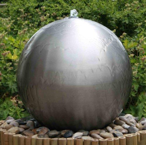 Primrose 75cm Kugelbrunnen aus gebürstetem Edelstahl mit LED-Beleuchtung