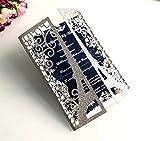 NINESH 50 STÜCKE Europäischen Hochzeit Laser hohl urlaubskarte Glitter Silber Hochzeit einladungskarte Turm benutzerdefinierte, Glitter Silber