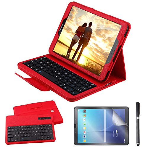 Galaxy Tab S2 9.7 Keyboard Case with Screen Protector & Stylus, REAL-EAGLE PU Leather Case with Detachable Wireless Bluetooth Keyboard for Samsung Tab S2 9.7 SM-T810 T813 T815 T819 Tablet, Red
