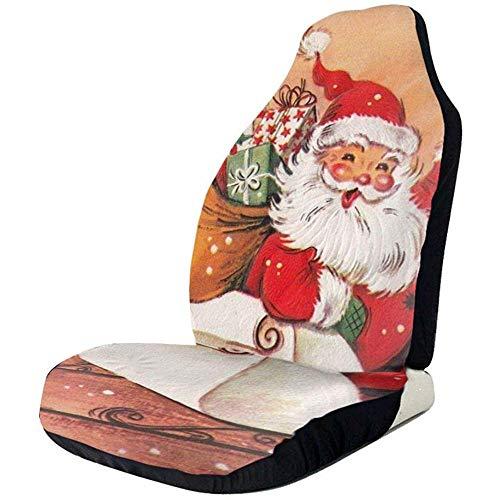 2 stuks autostoelhoezen volledige set - olieverfschilderij Santa gedrukt autostoelhoezen, autostoelhoezen passen op de meeste personenauto's, vrachtwagens, SUV's of auto's
