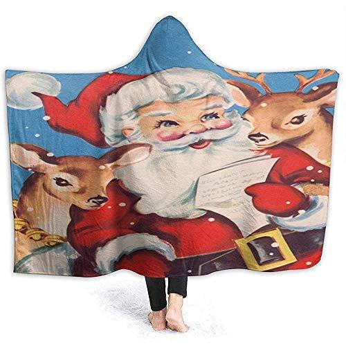Olieverfschilderij Kerstman rendier schattige mantel met capuchon flanel zachte deken met capuchon sweatshirt draagbaar met capuchon