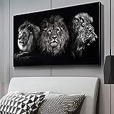 MJKLU HD African Wild Animal King Roaring Lion Simba Canvas