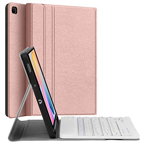 """Keyboard Case for Samsung-Galaxy-Tab S6 Lite 10.4"""", JUQITECH Smart Case with Keyboard for Galaxy Tab S6 Lite 2020 SM-P610 SM-P615 Magnetic Detachable Wireless Keyboard Cover with S Pen Holder, Pink"""
