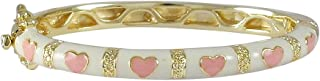 Gold Finish White Enamel Pink Hearts Girls Bangle Bracelet