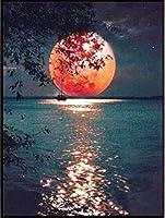 クロス ステッチ DIY 手作り刺繍キット 正確な図柄印刷クロスステッチ11CT 家庭刺繍装飾品 海の赤い月 40X50CM