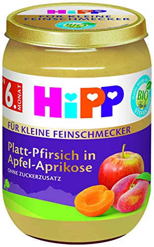 HiPP Bio Für kleine Feinschmecker, Platt-Pfirsich in Apfel-Aprikose, 6er Pack (6 x 190 g), 4421