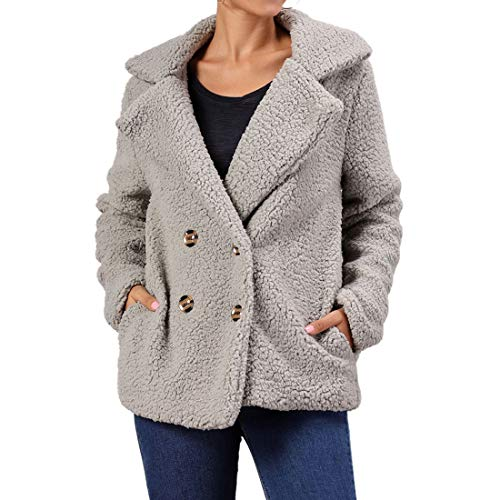 Women's Coat Casual Plush Lapel Long Sleeve Cardigans Warm Winter Fluffy Faux Fur Outwear Jackets Solid Color Elegant Modern Jackets Comfy Soft Tops with Pockets XXL