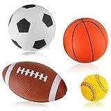 Liberty Imports Set of 4 Soft PU Mini Sports Balls for Kids (Football, Basketball, Soccer, Baseball)