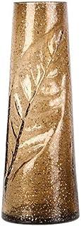 Flowers Vase, Leaves Carved Gold Foil Glass Vase Sturdy Tall Design Nordic Luxury Flower Arrangement European Living Room ...