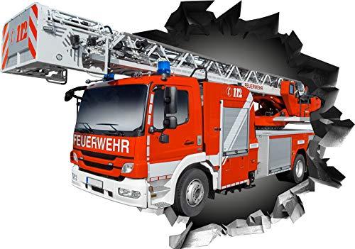 Wandtattoo Aufkleber WallArtML215 Wandbild Feuerwehr Auto Fire Mauerloch 3D Effekt verschiedene Größen Deko Wohnung Wohnzimmer Schlafzimmer Bad Kinderzimmer (82 x 57 cm)