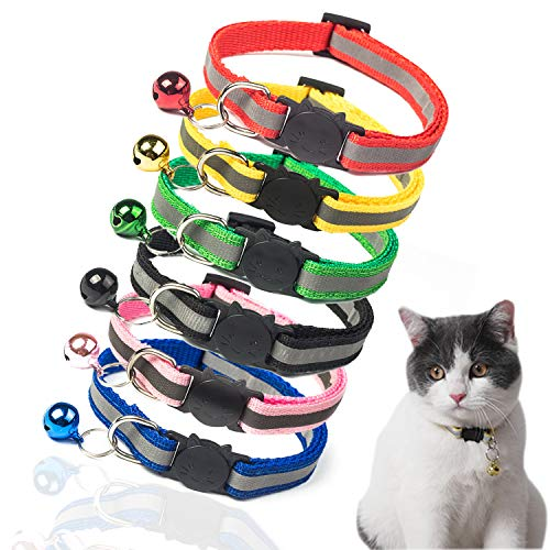 TCBOYING Breakaway Cat Collar with Bell, Kitten Collars Reflective Cat Collars - Ideal Size Pet Collars for Cats or Small Dogs
